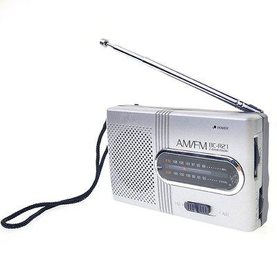 BC-R21 Mini Portable Pocket AM/FM Telescopic Antenna Battery Powered Receiver RadioOther Consumer Electronics<br>BC-R21 Mini Portable Pocket AM/FM Telescopic Antenna Battery Powered Receiver Radio<br><br>Package Contents: 1 x Portable FM/AM Radio<br>Package size (L x W x H): 10.50 x 6.20 x 2.70 cm / 4.13 x 2.44 x 1.06 inches<br>Package weight: 0.0630 kg<br>Product size (L x W x H): 9.20 x 5.60 x 2.00 cm / 3.62 x 2.2 x 0.79 inches<br>Product weight: 0.0530 kg
