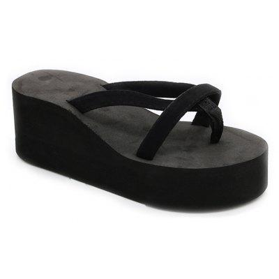Ladies Solid Color Beach Sandals Fashion Thick Bottom Slippers