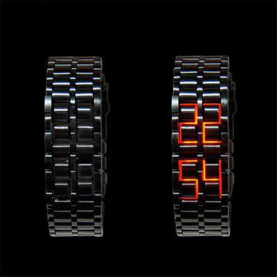 LED Alloy Stylish Creative WatchLED Watches<br>LED Alloy Stylish Creative Watch<br><br>Band material: Alloys<br>Case material: Alloy<br>Clasp type: Butterfly clasp<br>Display type: Digital<br>Movement type: Digital watch<br>Package Contents: 1 x Watch<br>Package size (L x W x H): 22.00 x 1.80 x 0.50 cm / 8.66 x 0.71 x 0.2 inches<br>Package weight: 0.0500 kg<br>People: Male table<br>Product size (L x W x H): 22.00 x 1.80 x 0.50 cm / 8.66 x 0.71 x 0.2 inches<br>Product weight: 0.0500 kg<br>Shape of the dial: Rectangle<br>Watch style: Fashion