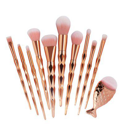 Spiral Mermaid Makeup Brush Set 11PCSMakeup Brushes &amp; Tools<br>Spiral Mermaid Makeup Brush Set 11PCS<br><br>Brush Material: Nylon<br>Handle Material: Plastic<br>Package Content: 11 x Brush<br>Package size (L x W x H): 21.00 x 13.00 x 2.00 cm / 8.27 x 5.12 x 0.79 inches<br>Package weight: 0.1500 kg<br>Product size (L x W x H): 21.00 x 13.00 x 2.00 cm / 8.27 x 5.12 x 0.79 inches<br>Product weight: 0.1200 kg<br>Used With: Eyeliner,Concealer,Blusher,Eye Shadow,Eyebrow Powder