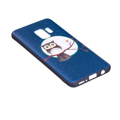 Relief Silicone Case for Samsung Galaxy S9 Moon and Owl Pattern Soft TPU Protective Back Cover