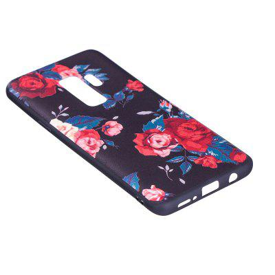 Relief Silicone Case for Samsung Galaxy S9 Plus Red Flowers Pattern Soft TPU Protective Back Cover