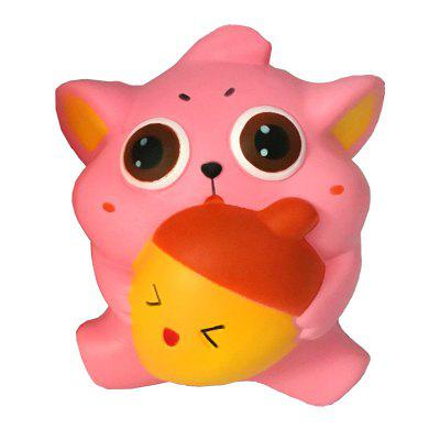 Jumbo Squishy PU Slow Rising Stress Relief Toy Replica Cartoon Cat Holding An Apple for Adults