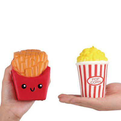 Jumbo Squishy PU Slow Rising Stress Relief Toy Replica Combination of French Fries with Popcorn for Adults 2PCS