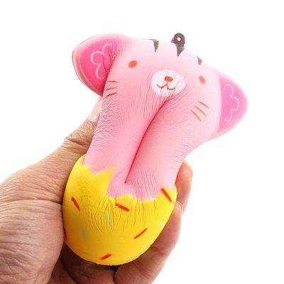 Jumbo Squishy PU Slow Rising Stress Relief Toy Replica Cartoon Cat Smiling Face Doughnut for Adults