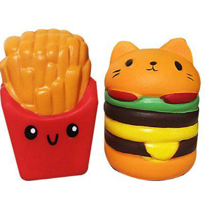 Jumbo Squishy PU Slow Rising Stress Relief Toy Replica Combination of French Fries with Burger Cat for Adults 2PCS