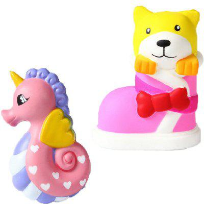 Jumbo Squishy PU Slow Rising Stress Relief Toy Replica Cartoon Combinação de Hipocampo com Botas Dog for Adults 2PCS