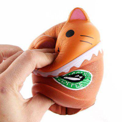 Jumbo Squishy PU Slow Rising Stress Relief Toy Réplica de Cartoon Cat Head Coffee Cup para Adultos