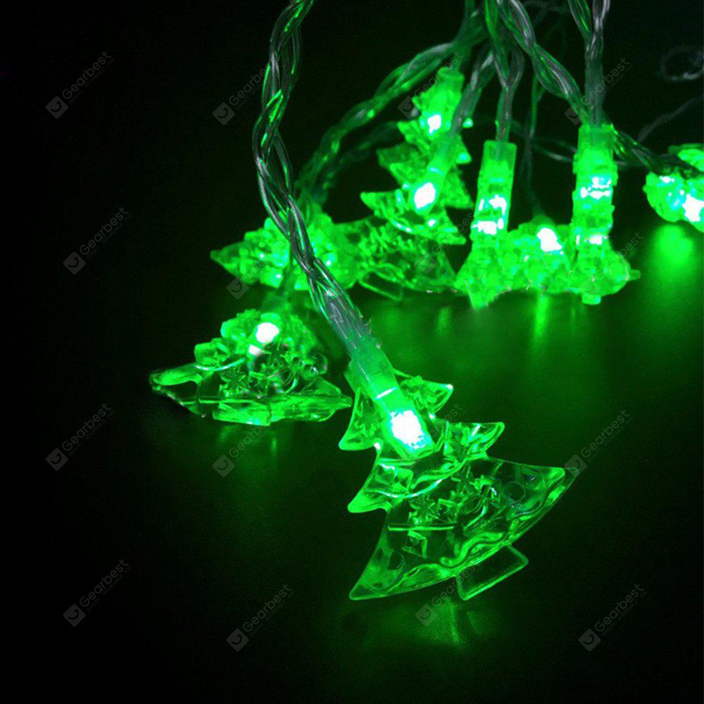 Battery-Powered Green Christmas Tree String Light for Home and Garden Decoration 10 LEDs and 1.65m