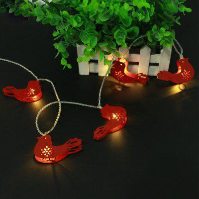 Battery-Powered Iron Red Birds String Light for Home and Garden Decoration 10 LEDs and 1.65m