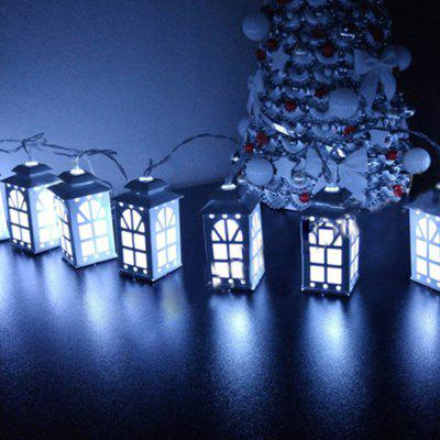 Battery-Powered Iron White Window House String Light for Home and Garden Decoration 10 LEDs and 1.65m
