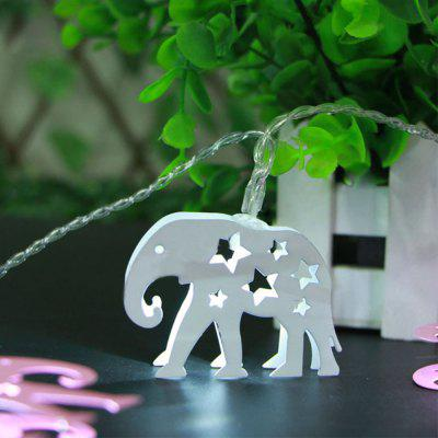Battery-Powered White Iron Elephant String Light for Home and Garden Decoration 10 LEDs and 1.65m