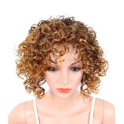 Short Side Bang Fluffy Kinky Curly Highlighted Gloden Mixed Brown Color peruca de cabelo sintético para mulheres negras