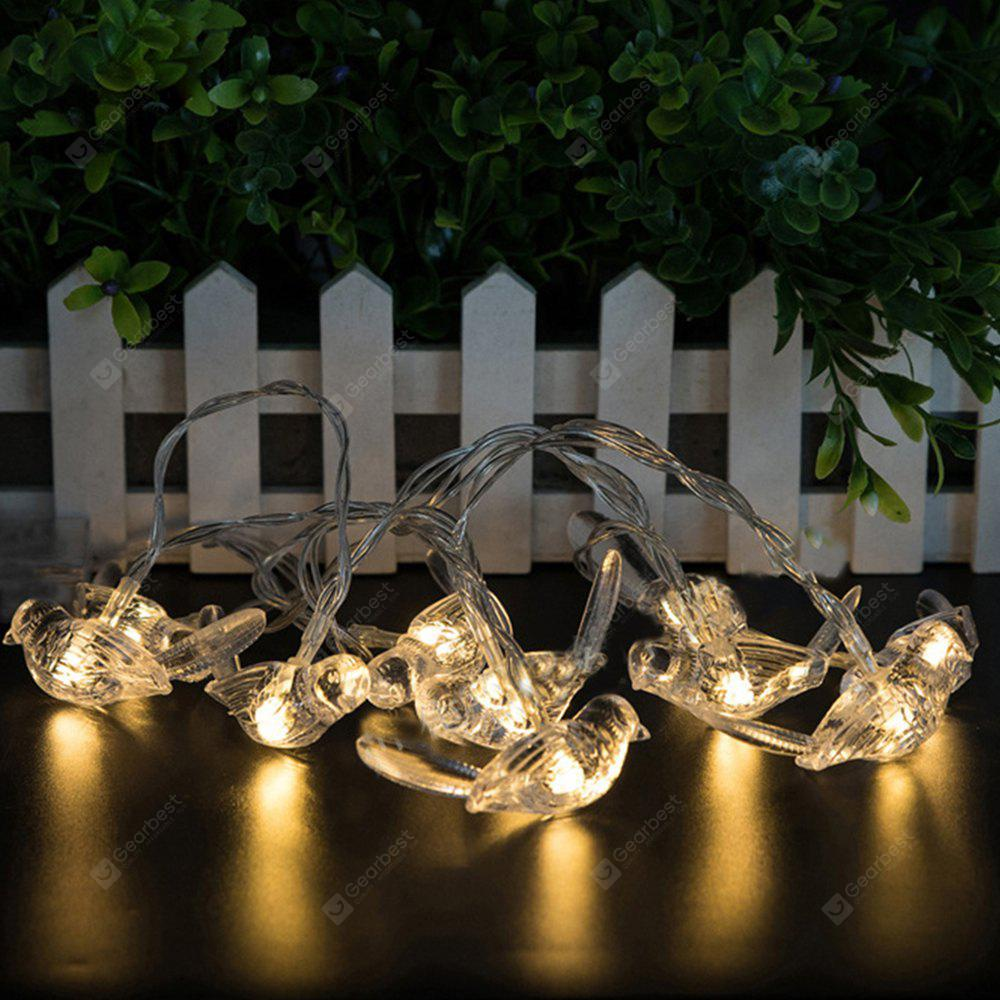 Battery-Powered 3D Transparent Birds String Light for Home and Garden Decoration 10 LEDs and 1.65m