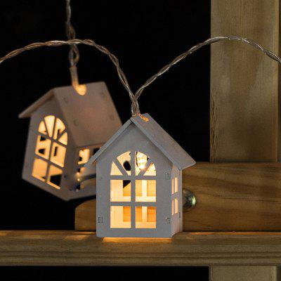 Battery-Powered White Wooden Window House String Light for Home and Garden Decoration 10 LEDs and 1.65m