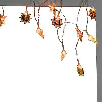 Battery-Powered Colormix Rudder Conch Starfish String Light for Home and Garden Decoration 10 LEDs and 1.65m