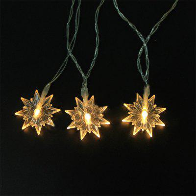 Battery-Powered Transparent Snowflake String Light for Home and Garden Decoration 10 LEDs and 1.65m