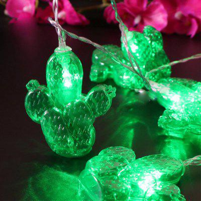 Battery-Powered Green Transparent Cactus String Light for Home and Garden Decoration 10 LEDs and 1.65m