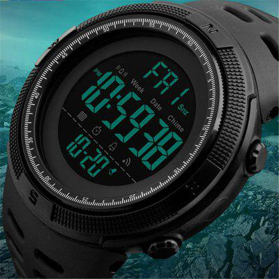 Men Sports Watches Countdown Double Time Watch Alarm Chrono Digital Wristwatches 50M WaterproofLED Watches<br>Men Sports Watches Countdown Double Time Watch Alarm Chrono Digital Wristwatches 50M Waterproof<br><br>Band material: Plastic<br>Case material: Plastic<br>Clasp type: Pin buckle<br>Display type: Digital<br>Movement type: Digital watch<br>Package Contents: 1 x Watch<br>Package size (L x W x H): 10.00 x 5.00 x 5.00 cm / 3.94 x 1.97 x 1.97 inches<br>Package weight: 0.0650 kg<br>People: Male table<br>Product size (L x W x H): 26.00 x 2.80 x 1.60 cm / 10.24 x 1.1 x 0.63 inches<br>Product weight: 0.0600 kg<br>Shape of the dial: Round<br>Watch style: Outdoor Sports