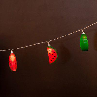 Battery-Powered Fruit Watermelon String Light for Home and Garden Decoration 10 LEDs and 1.65mLED Strips<br>Battery-Powered Fruit Watermelon String Light for Home and Garden Decoration 10 LEDs and 1.65m<br><br>Beam Angle: 300<br>Color Temperature or Wavelength: 3000-3200K<br>Features: Festival Lighting<br>LED Quantity: 10<br>Length ( m ): 1.65 m<br>Light Source: LED<br>Package Content: 1 x Fruit Watermelon String Light<br>Package size (L x W x H): 10.00 x 10.00 x 15.00 cm / 3.94 x 3.94 x 5.91 inches<br>Package weight: 0.2500 kg<br>Product size (L x W x H): 165.00 x 7.00 x 4.00 cm / 64.96 x 2.76 x 1.57 inches<br>Product weight: 0.2300 kg<br>Type: String Lights<br>Voltage: 3V<br>Wattage (W): 3