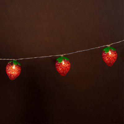 Battery-Powered Red Strawberry String Light for Home and Garden Decoration 10 LEDs and 1.65mLED Strips<br>Battery-Powered Red Strawberry String Light for Home and Garden Decoration 10 LEDs and 1.65m<br><br>Beam Angle: 300<br>Color Temperature or Wavelength: 3000-3200K<br>Features: Festival Lighting<br>LED Quantity: 10<br>Length ( m ): 1.65 m<br>Light Source: LED<br>Package Content: 1 x Red Strawberry String Light<br>Package size (L x W x H): 10.00 x 10.00 x 18.00 cm / 3.94 x 3.94 x 7.09 inches<br>Package weight: 0.2500 kg<br>Product size (L x W x H): 165.00 x 4.00 x 6.00 cm / 64.96 x 1.57 x 2.36 inches<br>Product weight: 0.2300 kg<br>Type: String Lights<br>Voltage: 3V<br>Wattage (W): 3