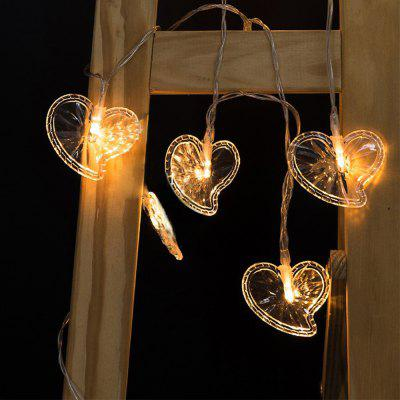 Battery-Powered Transparent Heart-shaped String Light for Home and Garden Decoration 10 LEDs and 1.65m