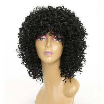 Moda Cabelo Preto Sintético Long Curly Afro African American Wigs for Women