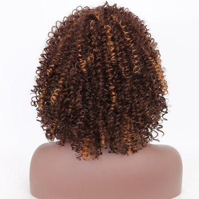 Dark Brown Mixed Blonde Heat Resistant Synthetic Fiber Afro Kinky Curly Wigs for  Women