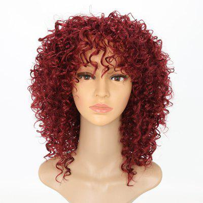 Chic Short Curly Hairstyle Wine Red Color Afro-americano Afro Kinky Perucas de cabelo sintéticas para mulheres