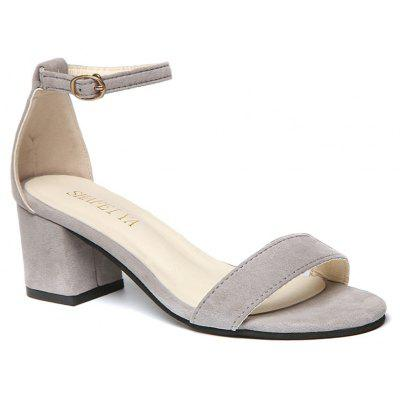 Women Summer Sandals Thick Heel Solid Color Pumps for Girls