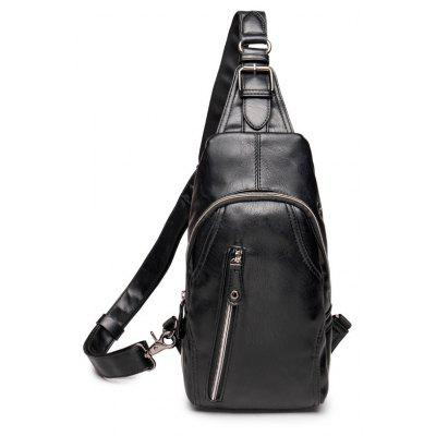 New Chest Pack PU Leather Men Casual Crossbody Sling Bag Zipper Unbalance Backpack