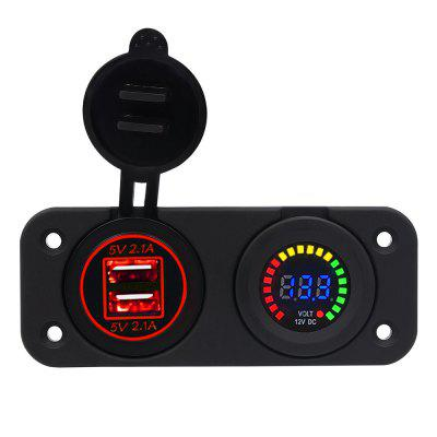 Dual USB 4.2A Charger Adapter and LED Voltmeter Panel Waterproof 12V-24V for Motorcycle Car Boat Marine Carvan Red