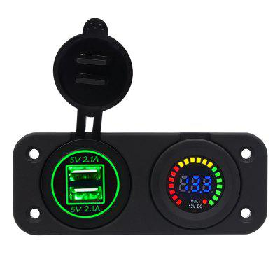 Dual USB 4.2A Charger Adapter and LED Voltmeter Panel Waterproof 12V-24V for Motorcycle Car Boat Marine Carvan Green