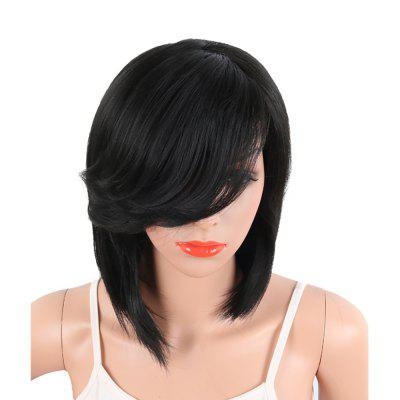 Black Color Medium Length Straight Hair Side Bang Synthetic Wig for Women