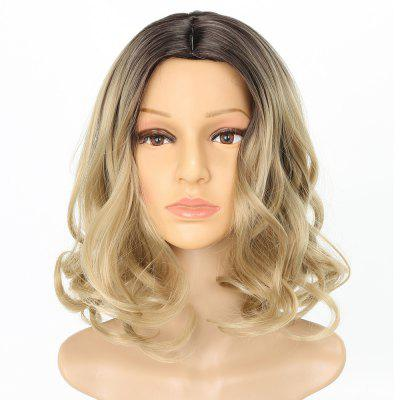 Dark Root Blonde Medium Length Fashion Fluffy Wavy Style Synthetic Hair Wig for Women