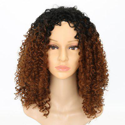 Moda Dark Root Medium Brown Ombre Cabelo Sintético Long Curly Afro African American Wigs for Women