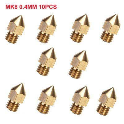 10pcs 0.4mm MK8 Extruder Nozzle For 3D Printer Makerbot Creality CR-10 CR-10S S4 S5
