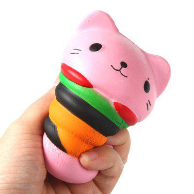 Jumbo Squishy PU Slow Rebound Stress Relief Toy Replica Pink Burger Cat voor volwassenen