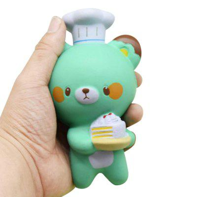 Jumbo Squishy PU Slow Rebound Stress Relief Toy Replica Cartoon Chef Bear for Adults 1PC
