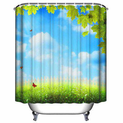 Blue Sky and White Cloud Bathroom Waterproof Polyester Shower Curtain