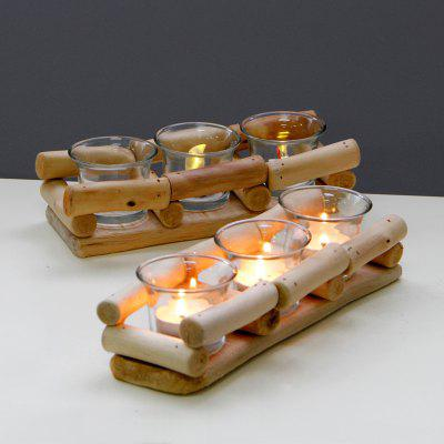 European Style Wooden Three Divisions Candle Holder Home Display