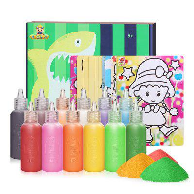 12 cores Sand Drawing Set Kids DIY Puzzle Handmade Early Education Art Toy