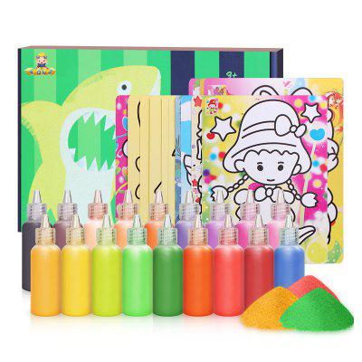 18 cores Sand Drawing Set Kids DIY Puzzle Handmade Early Education Art Toy