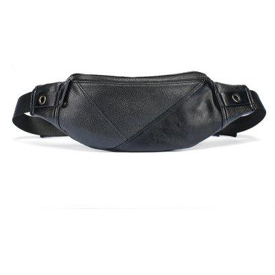 Men Black Waist Pack Outdoor Casual Unbalance Backpack Sling Bag Leather