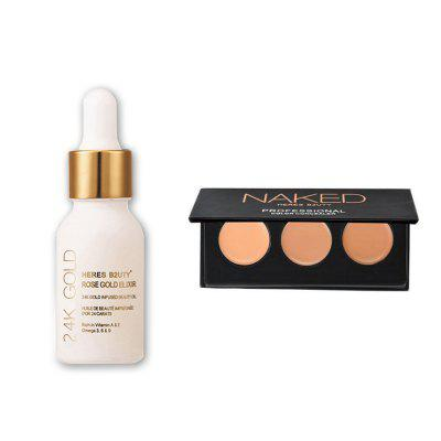Buy HERES B2UTY 24K Gold Infused Beauty Oil Plus 3 Color Professional Face Concealer Cream Contour Palette Makeup Primer Set 2pcs 12 for $12.05 in GearBest store