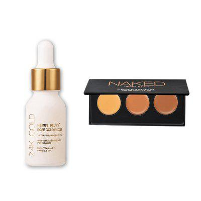 Buy HERES B2UTY 24K Gold Infused Beauty Oil Plus 3 Color Professional Face Concealer Cream Contour Palette Makeup Primer Set 2pcs 13 for $12.05 in GearBest store