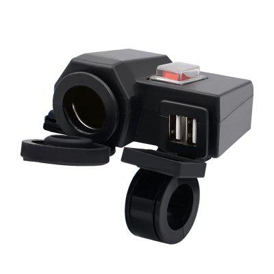 Waterproof  5V/2.1A Dual USB Output Motorcycle Handlebar Clamp Power Adapter Charger  With Cigarette Socket for iPhone