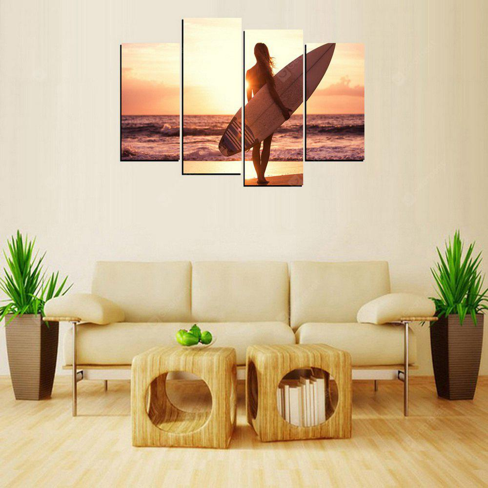 MailingArt FIV396  5 Panels Skateboard with Girl  Wall Art Painting Home Decor Canvas Print