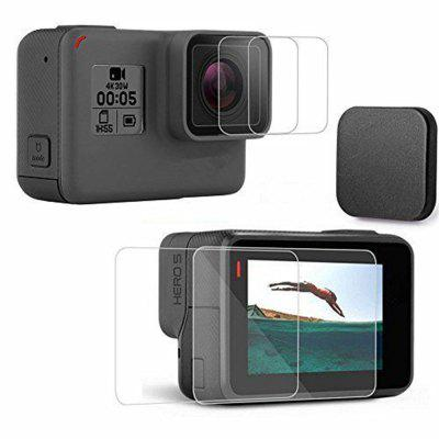 2 Packs Tempered Glass Screen Protector + Camera Lens Film + Lens Protective Cap Set  for Gopro Hero 5 / Gopro Hero 6Action Cameras &amp; Sport DV Accessories<br>2 Packs Tempered Glass Screen Protector + Camera Lens Film + Lens Protective Cap Set  for Gopro Hero 5 / Gopro Hero 6<br><br>Accessory type: Tempered Glass Screen Protector Film, Lens Cover<br>Apply to Brand: Gopro<br>Compatible with: GoPro Hero 5<br>Material: Glass<br>Package Contents: 2 x Tempered glass screen protector film, 2x Tempered glass lens protector film, 2 x Lens cover 2 x Alcohol cotton (Dry &amp; Wet, 2 x Dust absorber<br>Package size (L x W x H): 10.00 x 7.00 x 1.00 cm / 3.94 x 2.76 x 0.39 inches<br>Package weight: 0.0550 kg<br>Product size (L x W x H): 5.60 x 3.70 x 0.10 cm / 2.2 x 1.46 x 0.04 inches<br>Product weight: 0.0360 kg