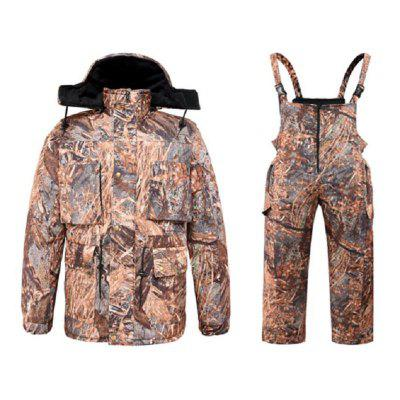 DaMaiZhang Outdoor Sports Bioni Camouflage Winter Snow Hunting Suit Waterproof Fleece Jacket Warm Camo Straps Trousers